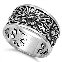Sterling Silver Thick Design Sunflower Ring Band Sz 5-10
