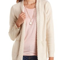 Braided Trim Open Front Cardigan Sweater - Scallop Shell