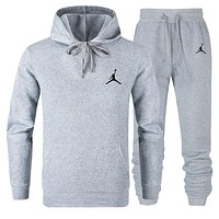 JORDAN Autumn Winter Trending Casual Hoodie Top Sweater Pants Trousers Set Two-Piece Light Grey