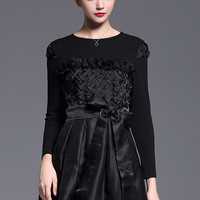 Black Long Sleeve Knit Bow-Waist Dress