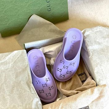 GG Women's Double G Hollow Slippers Shoes  Heel height 5 CM