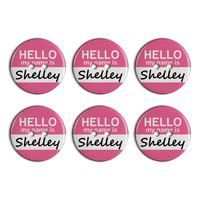 Shelley Hello My Name Is Plastic Resin Button Set of 6