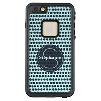 Blue Polka Dots Circle Monogram Pattern LifeProof® FRĒ® iPhone 6/6s Plus Case
