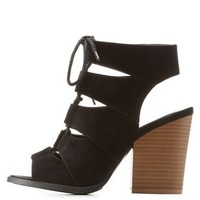 Black Lace-Up Peep Toe Booties by Qupid at Charlotte Russe