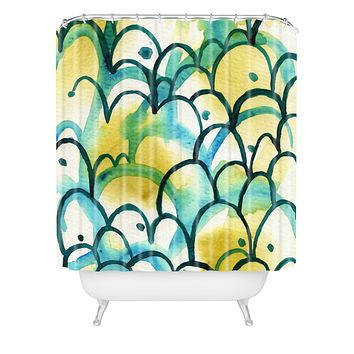 Elena Blanco Green and Blue Shower Curtain