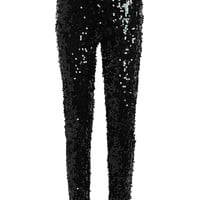 Faux Leather Sequins Glitter Skinny Pants