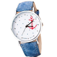 Mens Womens Classic Anchor Denim Strap Watch