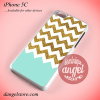 Glitter Gold White Chevron Phone case for iPhone 5C and another iPhone devices