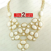 girls bubble Necklace beige Bib Necklace wedding Statement Necklace Beaded Necklace womens Necklace