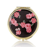 FOREVER 21 Rose Print Mirror Compact Black/Red One