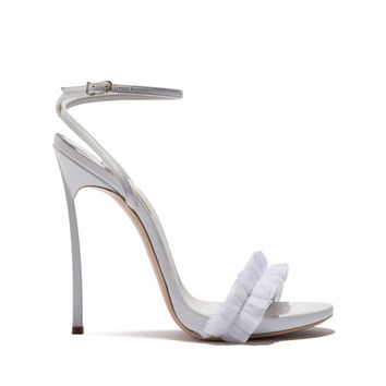 Sandals Blade in Calf Leather and fabric White | Casadei