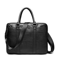 Promotion Simple Famous Business Men Briefcase Bag Luxury Leather Laptop Bag Man Shoulder Bag