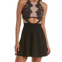 Black Combo Cut-Out Lace Skater Dress by Charlotte Russe