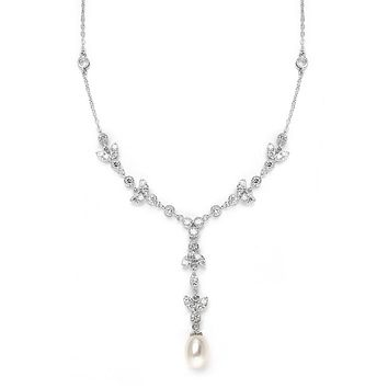 Vintage Freshwater Pearl and CZ Tulip Wedding Necklace
