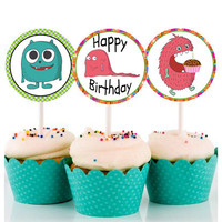 Little Monsters cupcake toppers - Printable cupcake toppers - Monsters 2 inch circles - Party favors - Stickers - Tags - Instant download