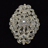1 Pc Crystal Brooch vintage style in Silver with Pinback Good for broach bouquets, crystal bouquets hair pieces, DIY weddings  WBR-617