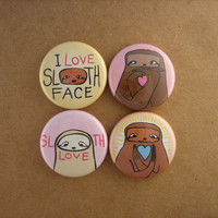 Sloth Love - Set of 4 Sloth PInback Buttons