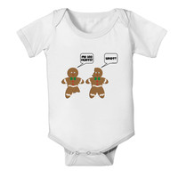 Funny Gingerbread Conversation Christmas Baby Romper Bodysuit