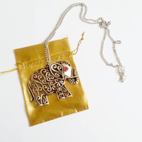 Silver long elephant necklace with red zircons silver gift for her necklace gift wrapping good luck gift