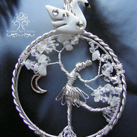 Swan Lake The Swan Princess Tree of Life Wire Wrapped Pendant Jewelry Ballet Dancer