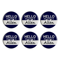 Allen Hello My Name Is Plastic Resin Button Set of 6