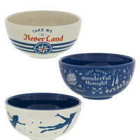 Disney Parks Peter Pan Neverland Ceramic Bowls Set of 3 New with Box