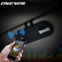 Onever Wireless Car Bluetooth Speakerphone Hands-free Car Kit Music Player Clip On Sun Visor Portable Car Audio with Car Charger