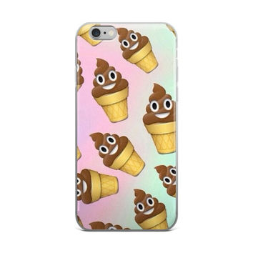 Chocolate Poop Ice Cream Emoji Collage Teen Cute Girly Girls Tie Dye Pink & Sky Blue iPhone 4 4s 5 5s 5C 6 6s 6 Plus 6s Plus 7 & 7 Plus Case