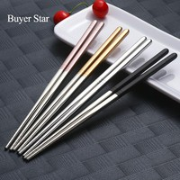 5 Pairs 304 Stainless Steel korean Chopstick Pattern Square Reusable Tableware Silver Metal Chopsticks Set Baguett Sushi Cutlery