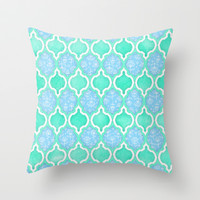 Moroccan Aqua Doodle pattern in mint green, blue & white Throw Pillow by micklyn