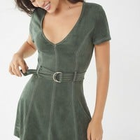 UO Faux Suede Belted Dress | Urban Outfitters