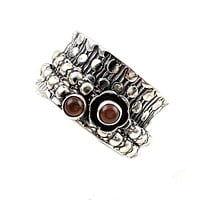 Spinner Ring - Sterling Silver Garnet