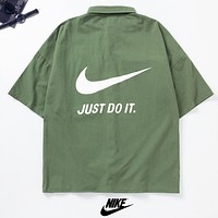 NIKE Just Do It New fashion letter hook print couple top t-shirt Army Green