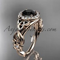 14kt rose gold diamond celtic trinity knot wedding ring, engagement ring with a Black Diamond center stone CT7300