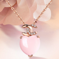 New Fashion Diamond Pink Crystal Love Heart Pendant Woemn Necklace