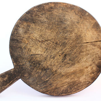 Primitive Paddles Bread Cutting Board Old Antique Round Chopping Board