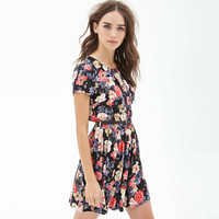 Women's Fashion Floral Printed Short Sleeve Cute Casual Party Beach Summer Mini One Piece Dress with Belt ?_ 3144