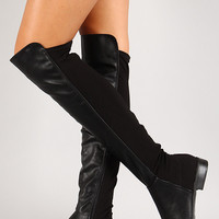 Bamboo Round Toe Riding Thigh High Boot