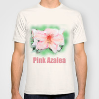 Pink rhododendron, azalea flower photo art. color pencil sketch style. T-shirt by NatureMatters