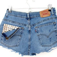 Silver Studded Levis Shorts
