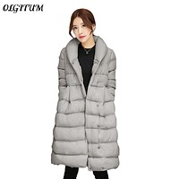 2017 Winter new Women Jacket Medium-Long section Down Plus Size Cotton Parka Coat with belt thicker warm Outerwear 4colors