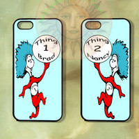 Thing 1 and thing 2 Couple Best Friend Cases-iPhone 5 , 5s, 5c,4s, 4,Ipod touch 5, Samsung GS3, GS4-Rubber Hard Plastic Case, Phone cove