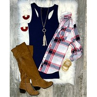 Penny Plaid Flannel Top: Ivory/Red/Navy