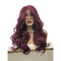 Red Burgundy Curls Human Hair Blend Hand Tied Deep Parting Lace Front Wig - Portia