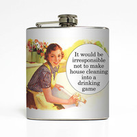 Liquor Flask House Cleaning Drinking Game Liquid Courage Ephemera Adult Women Birthday Gift Stainless Steel 6 oz Liquor Hip Flask LC-1452
