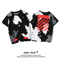 OFF WHITE Short Sleeve Summer Irregular Couple Cotton T-shirts [11501029836]