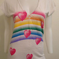 NEW RAINBOW HEART GRAY KITSCH FUNKY FUN URBAN T-SHIRT KAWAII SCENE SMALL MEDIUM
