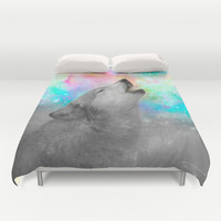Breathing Dreams Like Air (Wolf Howl Abstract II: Grey) Duvet Cover by soaring anchor designs ⚓   Society6