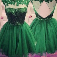 Open back Green Homecoming Dress, Junior Lace Homecoming Dress