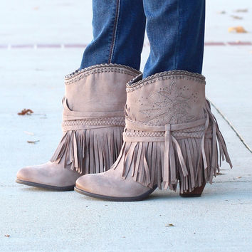 Not Rated: Kahlisi Suede Fringe Booties {Taupe} - Size 7